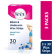 Bikini and Underarm Cold Wax Strips for Sensitive Skin 90 Strips