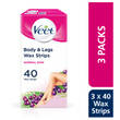 Body & Legs Cold Wax Strips for Normal Skin, Pack of 120