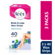 Body & Legs Cold Wax Strips for Sensitive Skin, Pack of 120