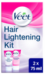 Veet Hair Lightening Cream for Face and Body 2 x 75 ml