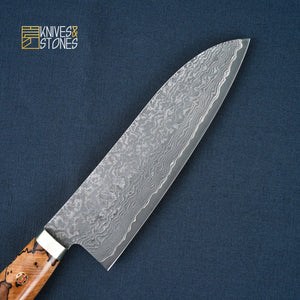 Tanaka R2 Western Santoku 165mm Spalted Maple with Teak wood saya