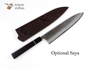 Wakui Gyuto White 2 Stainless Clad Kurouchi Hammered Finish