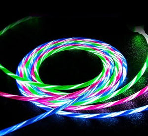Cable chargeur lumineux renforcé smartphone Iphone Samsung Android LED