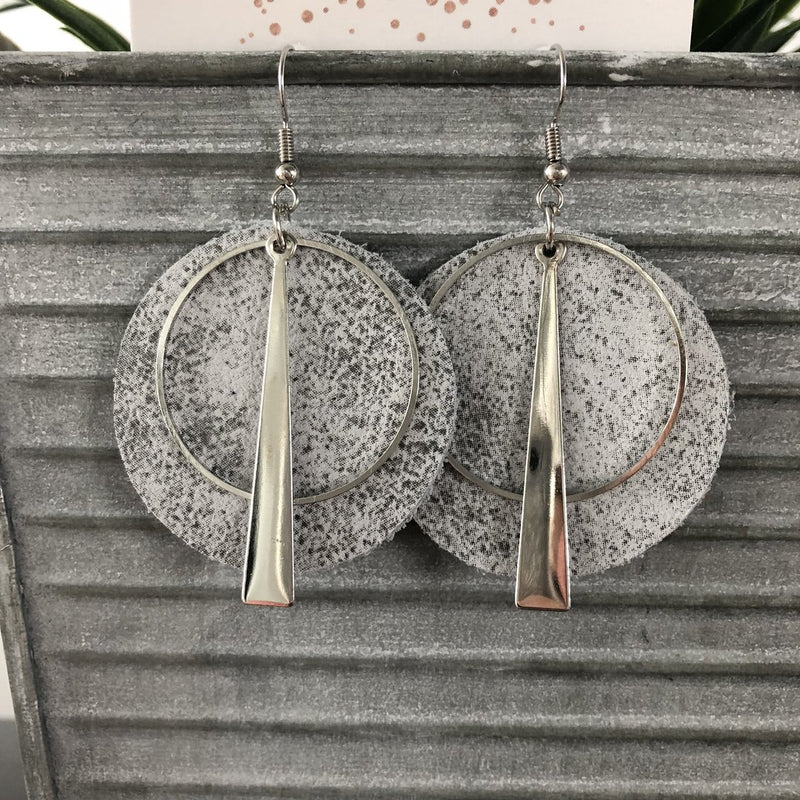 Silver & White Perfect Circle Earrings
