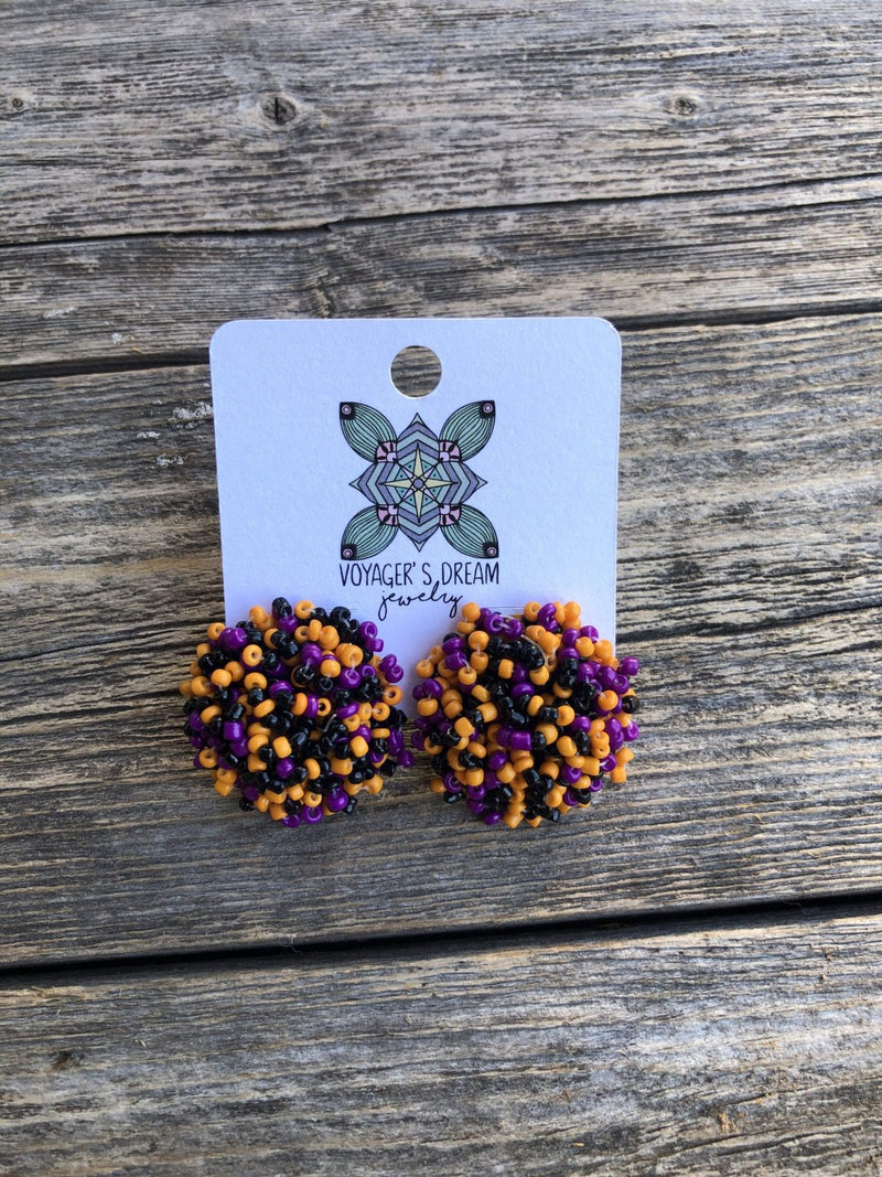 Beaded Pom Pom Earrings