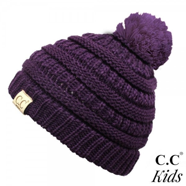Kids Solid Knit Pom Beanie
