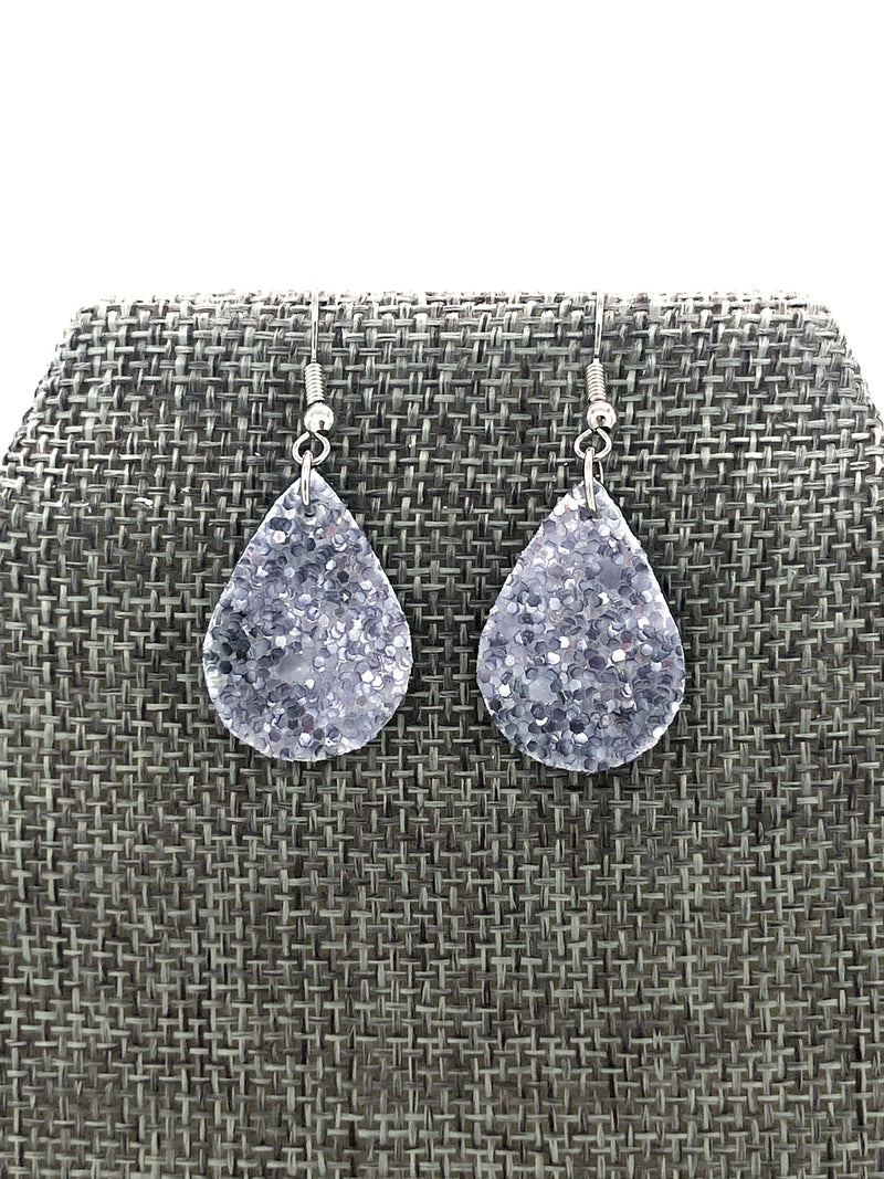 Light Blue Glitter Itty Bitty Tear Drop Earrings