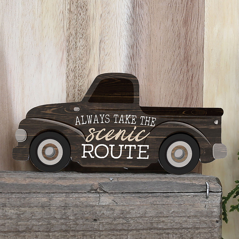 Always Take the Scenic Route - Truck Shaped Wood Sign
