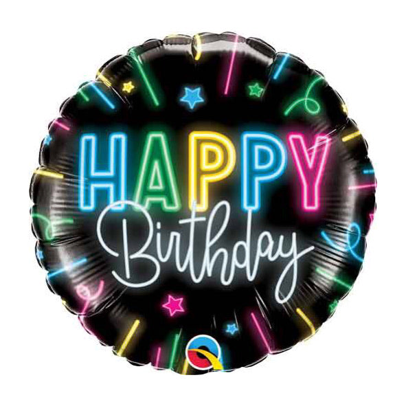 Happy Birthday Neon Glow Foil Balloon