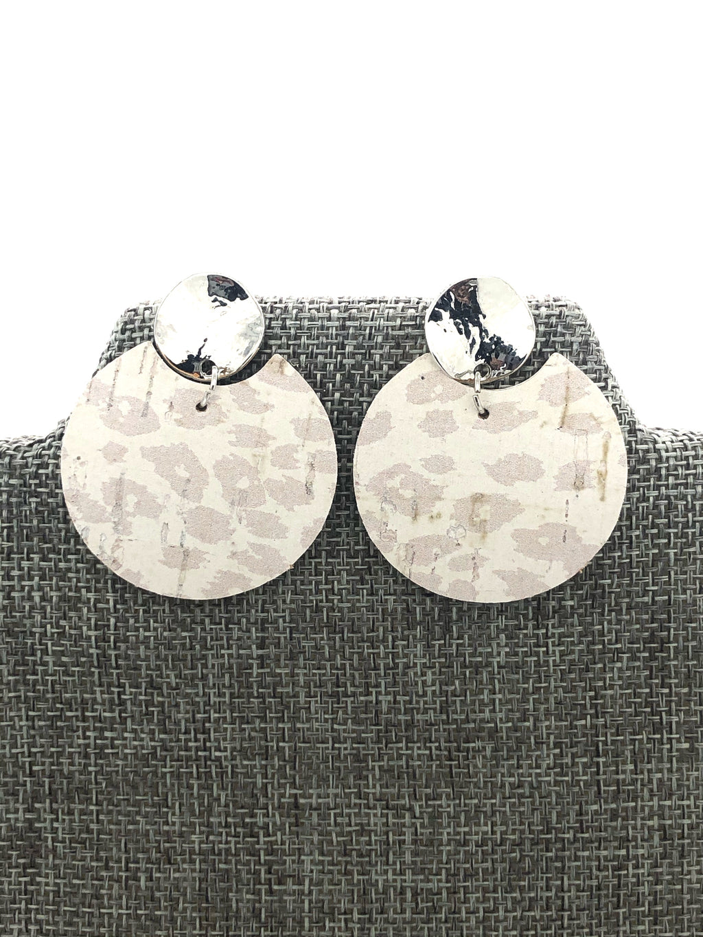 Nude Leopard Circle Stud Earrings