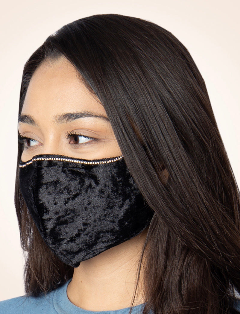 Black Velvet Face Mask with Rhinestones and Adjustable Straps