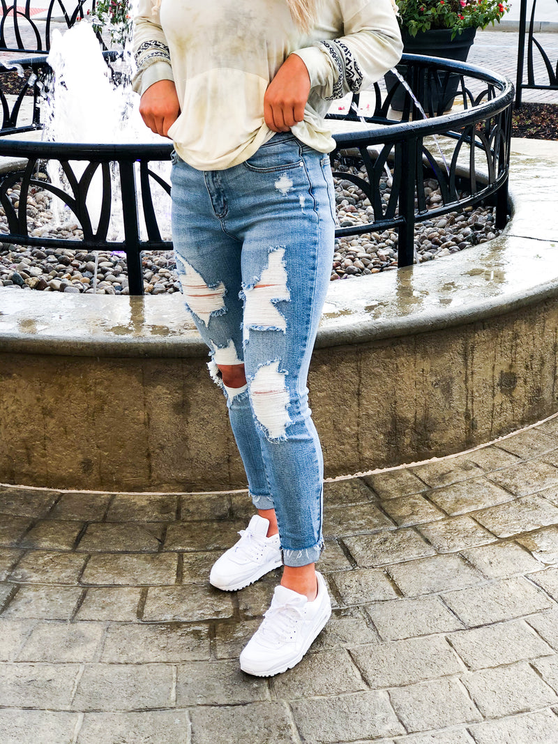 Destroyed High Waist Skinny Cuffed Jeans