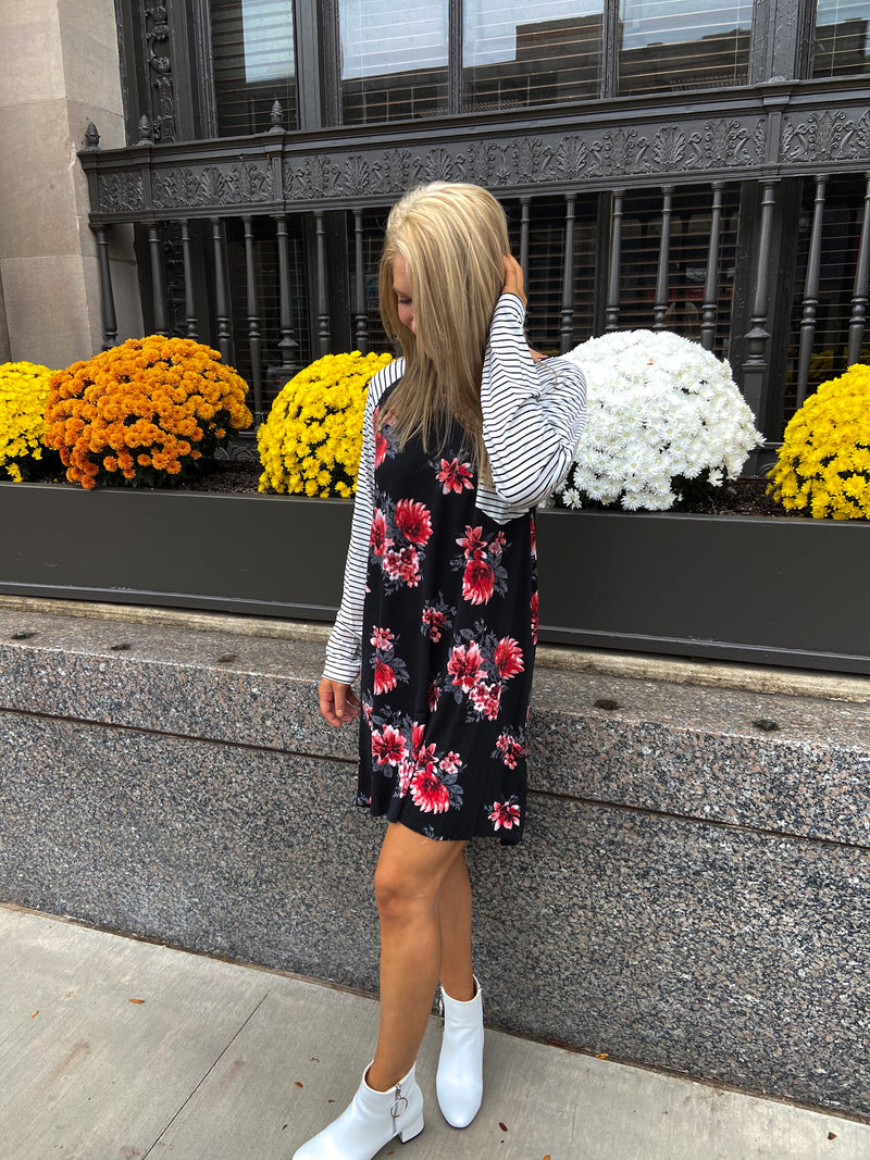 Long Sleeve Floral & Stripe Black Dress
