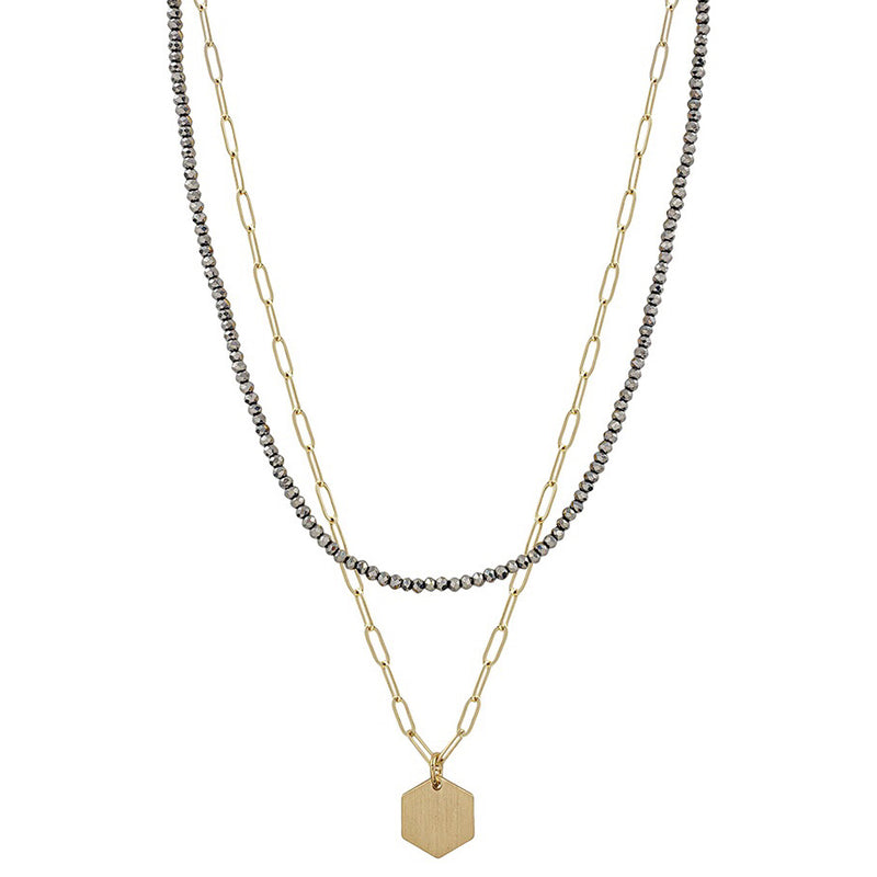 Grey Crystal and Gold Chain Two Layer Hexagon Necklace