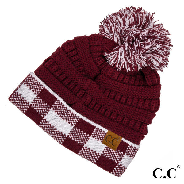 Two Tone Game Day Beanie with Pom