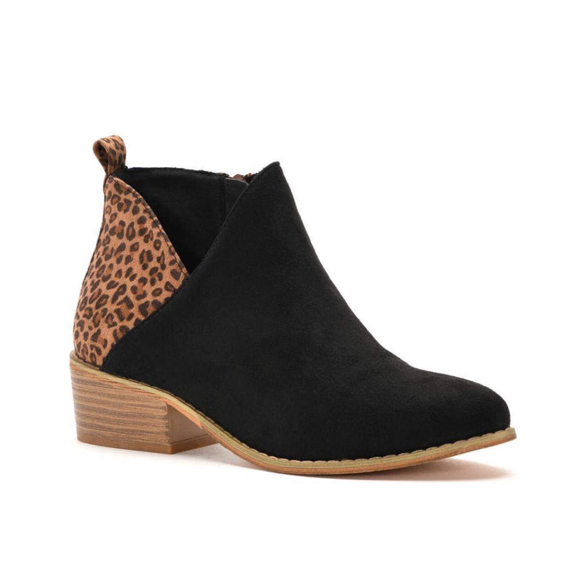 Black & Leopard Port Bootie