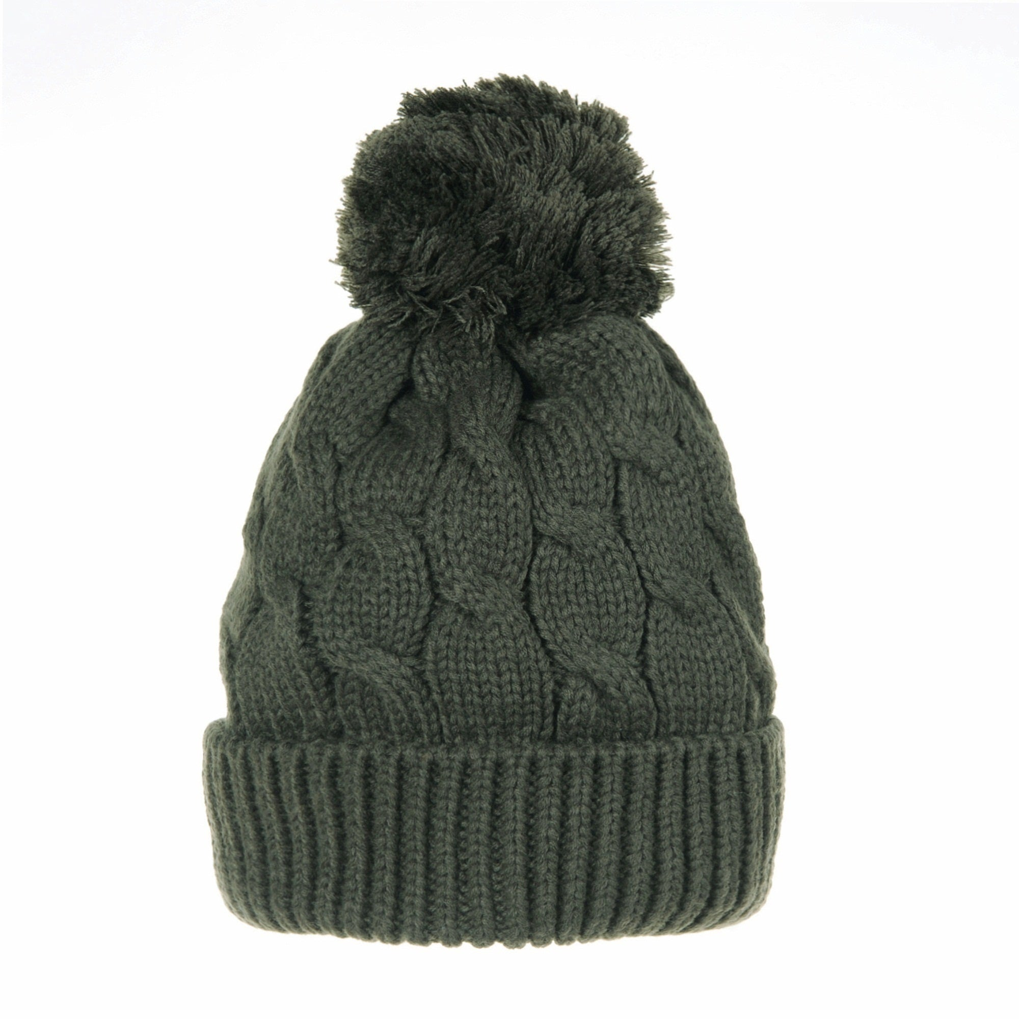 Knitted Twisted Cable Bobble Pom Beanie Hat Slouchy
