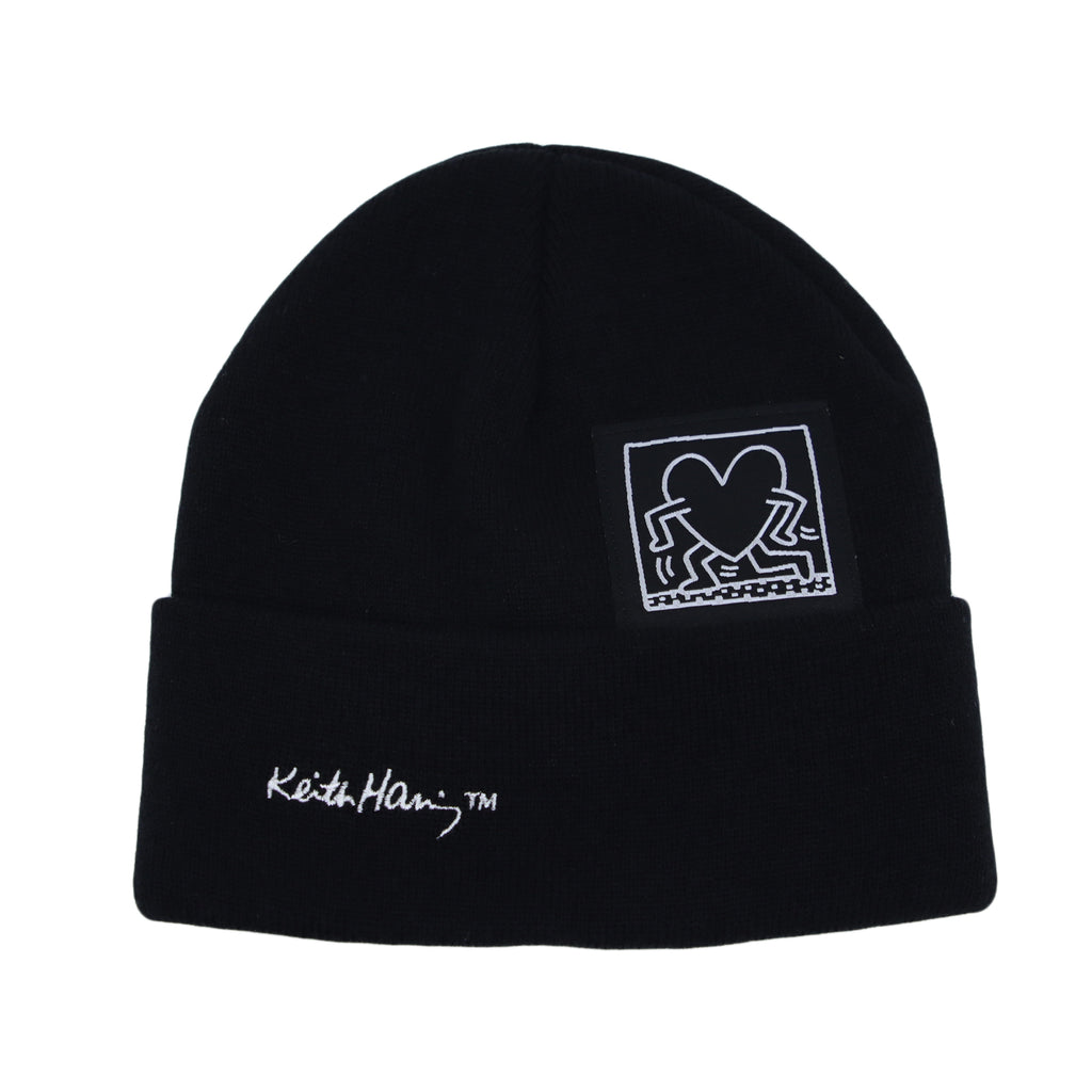 Knitted Beanie Hat Keith Haring Heart Patch Watch Cap