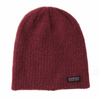 Beanie Hat Ribbed Knit Slouchy Soft Fabric Retro Patch