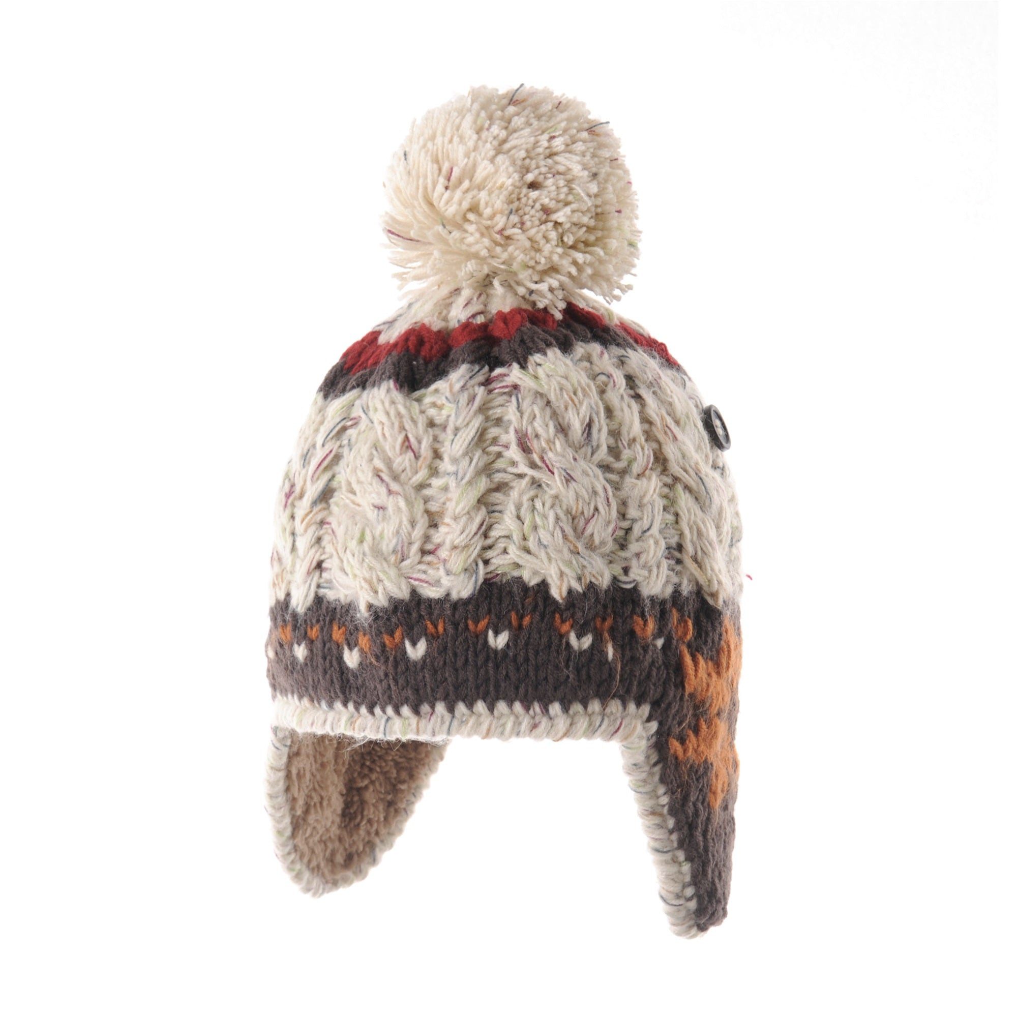 Knit Fleece Lined Fairs Isle Nordic Ear Flap Bobble Pom Beanie Hat