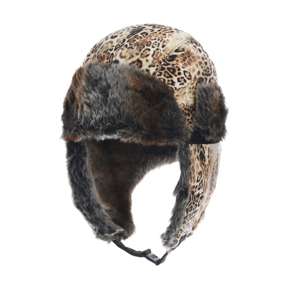 Leopard Trooper Ear Flap Cap Trapper Hat Faux Fur