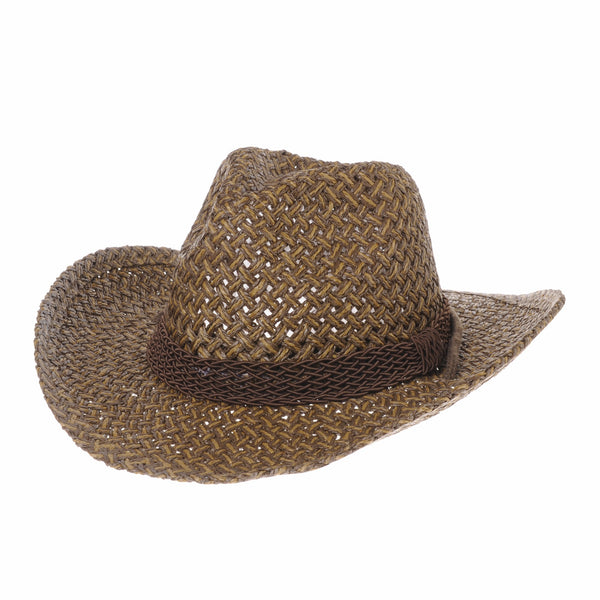 Western Cowboy Hat Paper Straw Two Tones Banded Fedora