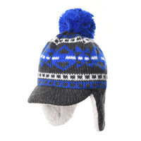 Knit Fleece Fairs Isle Nordic Ear Flap Pom Beanie Hat DW7564