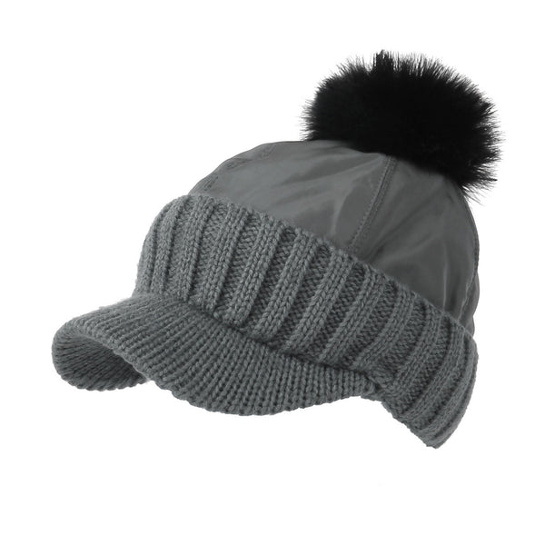 Winter Fleece Knit Visor Pom Beanie Hat Baseball Cap DWR1133