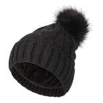 Fleece Twist Knit Pom Beanie Winter Hat Slouchy Cap