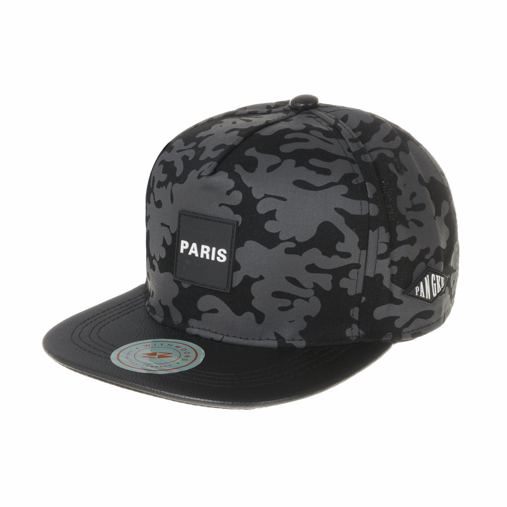 Camouflage Paris Patch Snapback Hats Faux Leather Brim