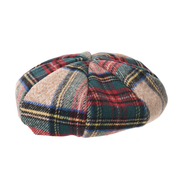 Tartan Checks Plaid British Beret Hat Soft Short Fur