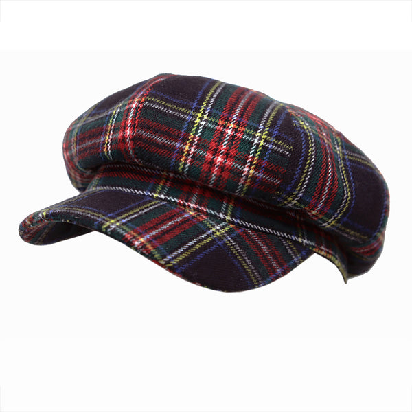 Newsboy Beret Hat Tartan Check Cool Cotton Golf Cap