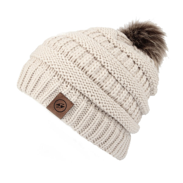Cable Knit Ribbed Pom Beanie Winter Hat Slouchy Cap