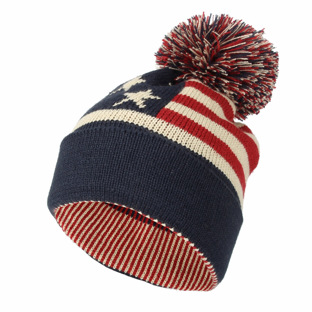 Knit US Canada Flag Union Jack Pom Beanie Hat
