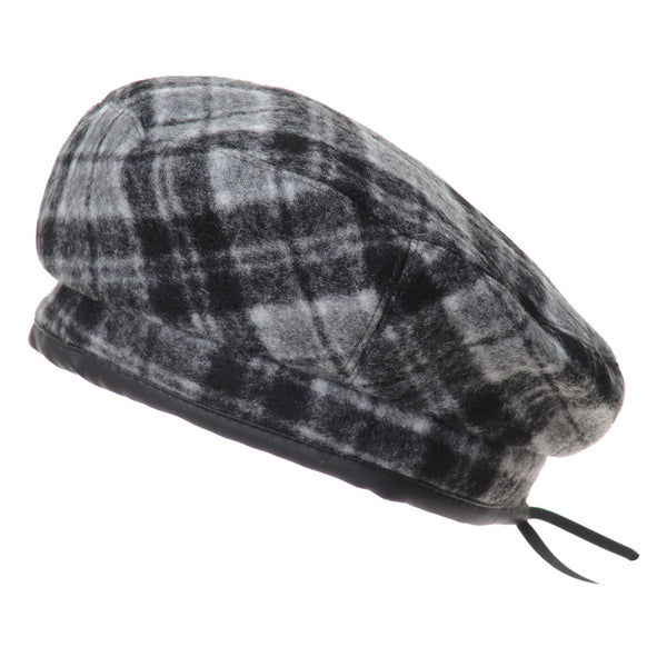 Wool Beret Hat Tartan Check Leather Sweatband