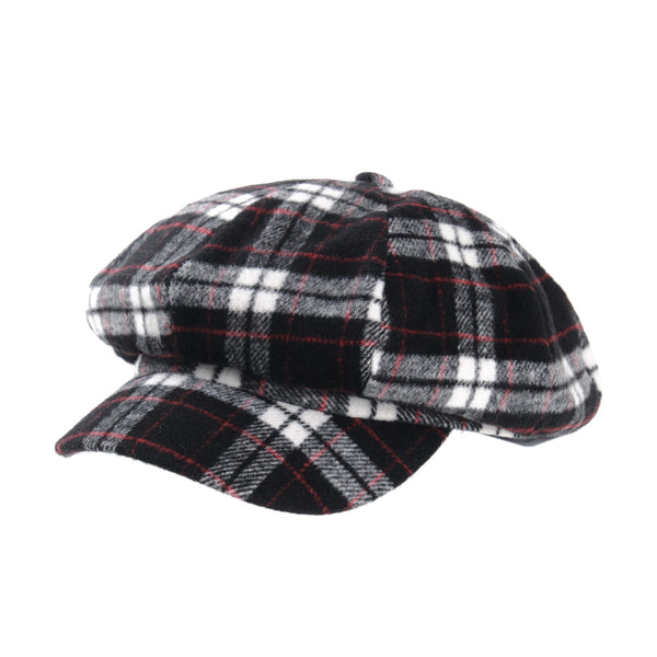 Soft Cotton Beret Cap Tartan Checks Bakerboy Visor Hat