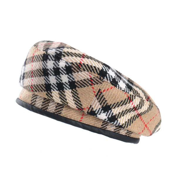 Plaid Checks Beret Hat Leather Sweatband British