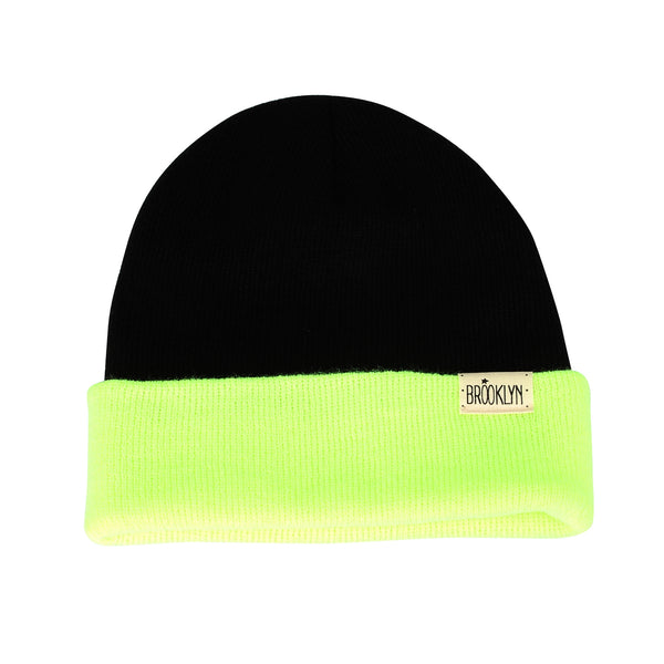 Knitted Beanie Hat Two Color Block Plain Watch Cap