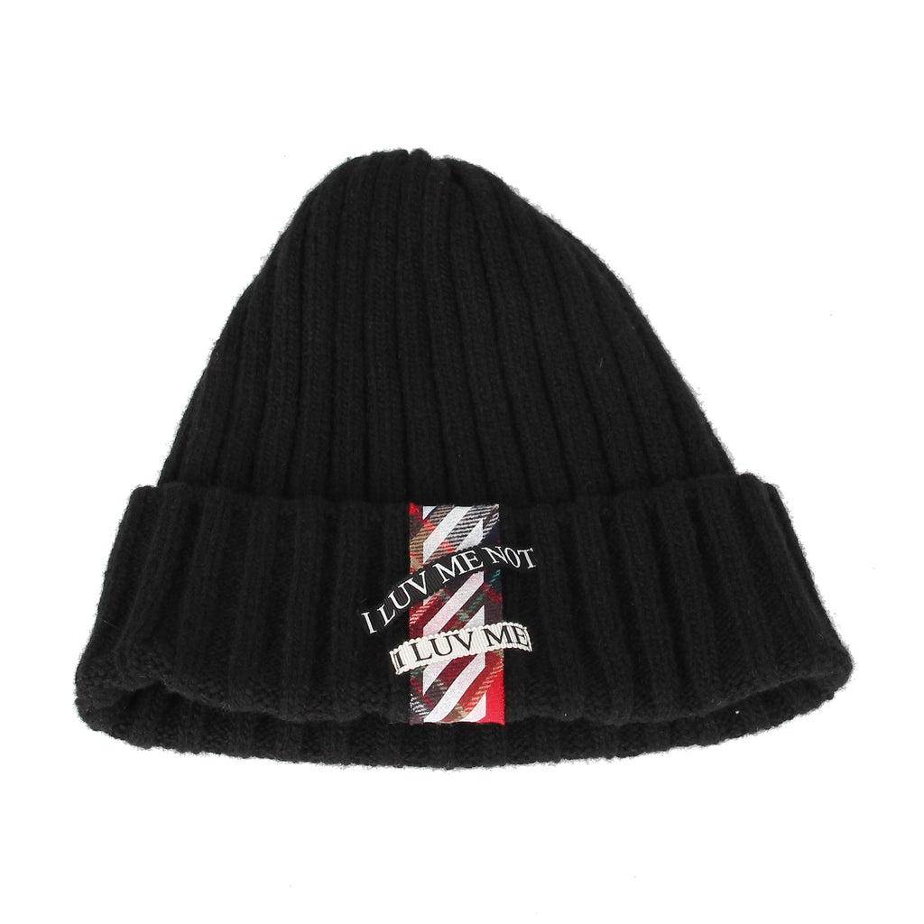 Wool Knitted Beanie Hat Ribbed LUV ME Patch Watch Cap