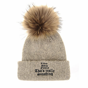 Knitted Real Fur Pom Pom Soft Beanie Hat
