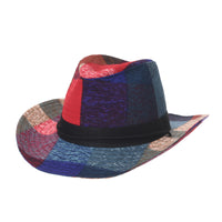 Western Cowboy Hat Colorful Check Summer Fedora
