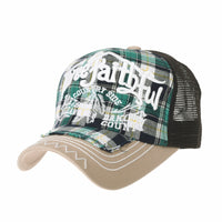 Baseball Cap Vintage Meshed Distressed Cotton Dad Hat Tartan Check Hat For Men
