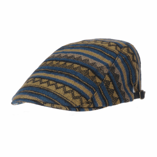 Aztec Tribal Pattern Knitted Newsboy Hat Flat Cap