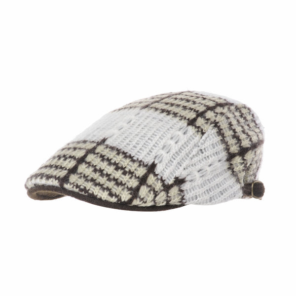 Knitted Stripe Pattern Newsboy Hat Flat Cap