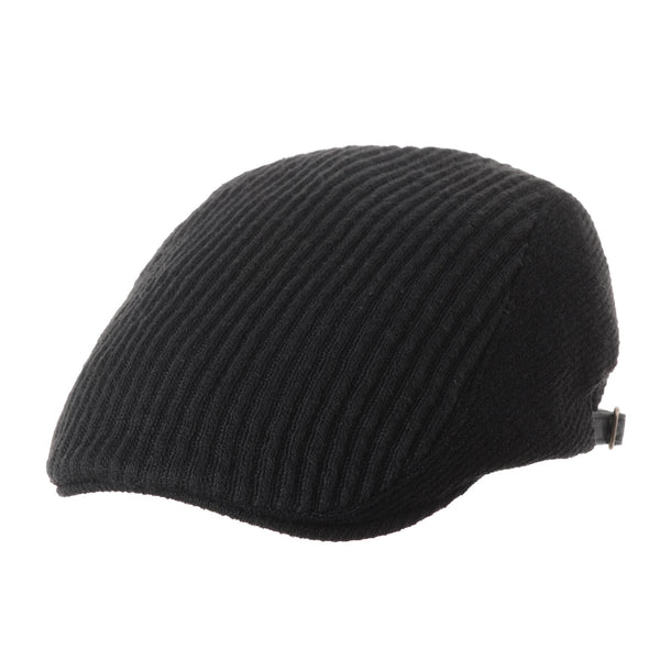 Flat Cap Knit Ribbed Stripe Newsboy Hat Winter Ivy Hat