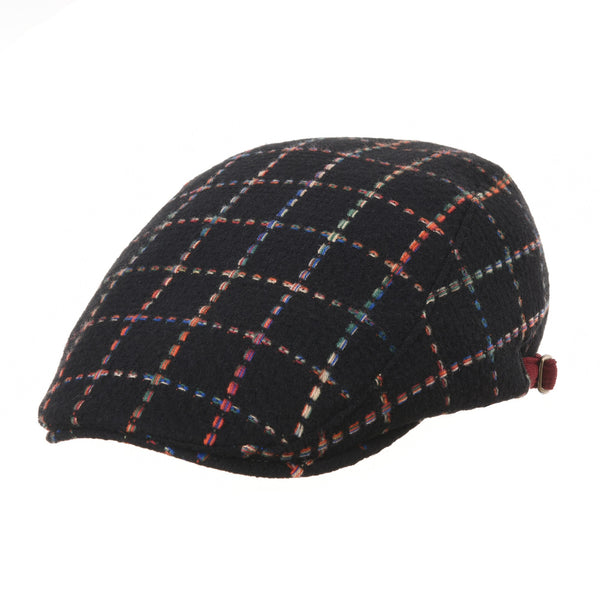 Wool Flat Cap Lattice Plaid Window Pane Check Ivy Hat