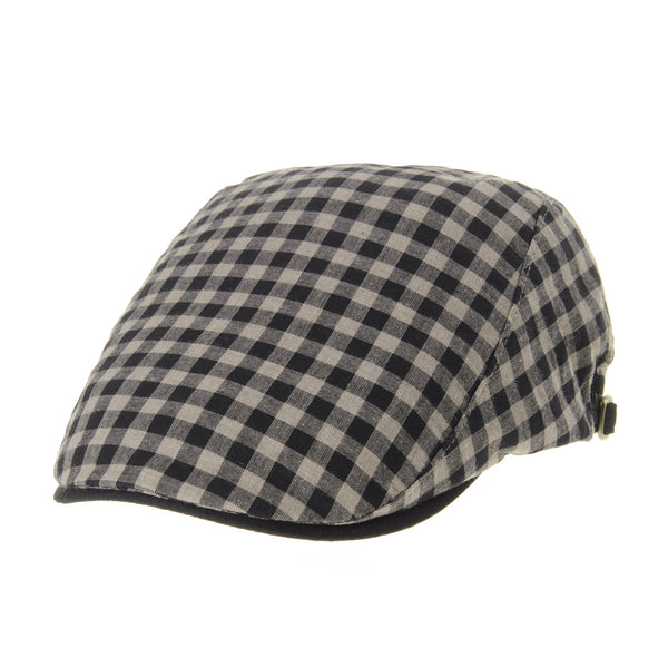 Newsboy Flat Cap Plaid Gingham Check Cool Cotton Ivy Hat