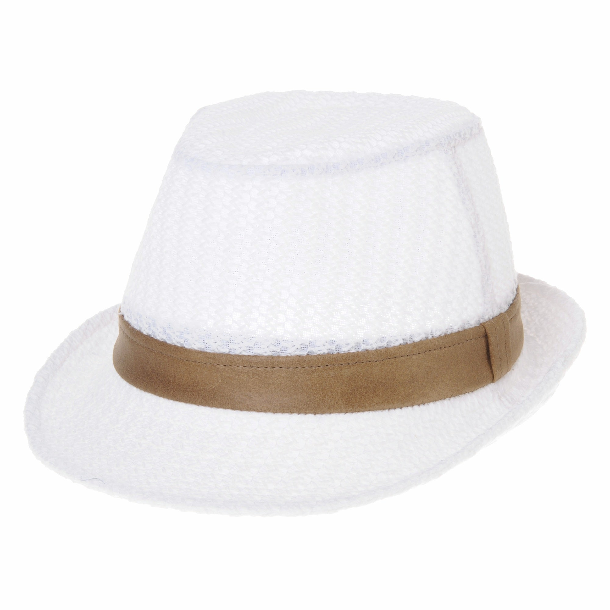 Fedora Hat Meshed Cotton Faux Leather Banded