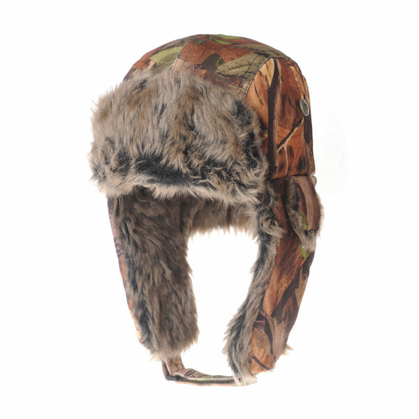 Ear Flap Beanie Hat Amazon Forest Leaf Pattern Faux Fur