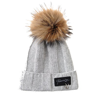 Knitted Real Fur Pom Pom Beanie Hat Slouchy